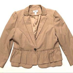LOFT Peplum Blazer One Button Career Tan Size L